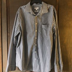Worn Once White, Black and Red Plaid Button Down